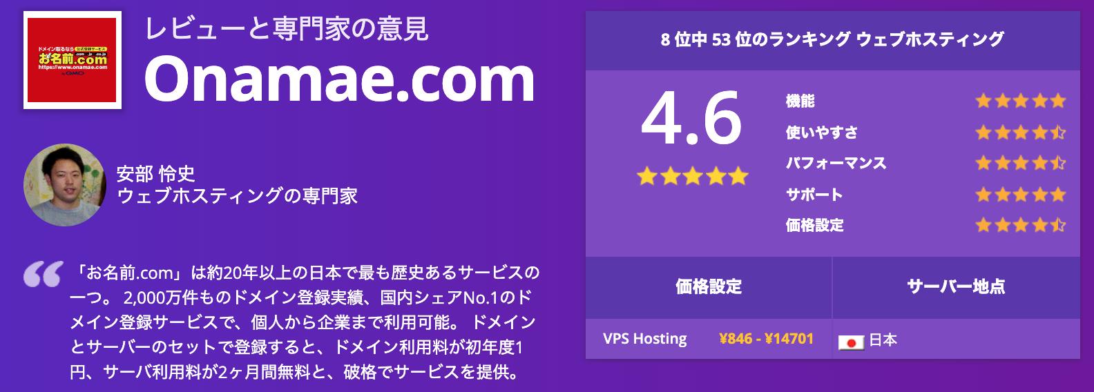 お名前ドットコムの評判・レビューページ(WebsitePlanet)