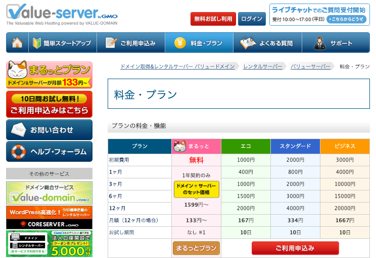 バリューサーバーのレンタルサーバーの料金プランと機能