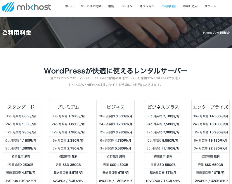 mixhost(ミックスホスト)のレンタルサーバーの料金プランと機能